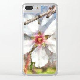 Almond Blossom Study Watercolor Clear iPhone Case