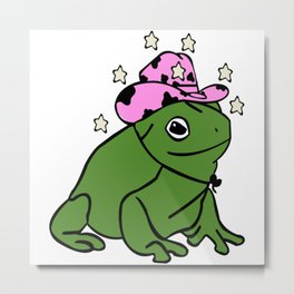 Frog With A Cowboy Hat Metal Print