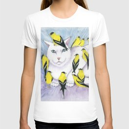Cat Covered in Goldfinches T-shirt