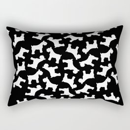 White Schnauzers - Simple Dog Silhouettes Pattern Rectangular Pillow