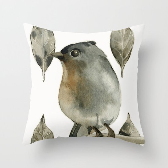 Grey Birdy Throw Pillow