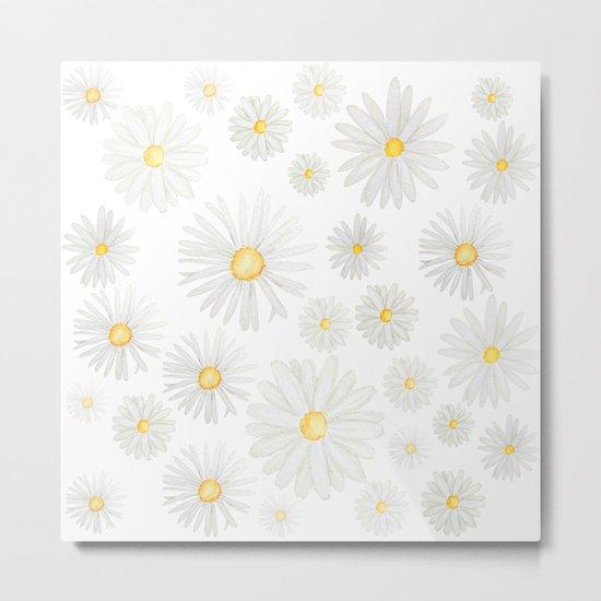 white daisy pattern watercolor Metal Print