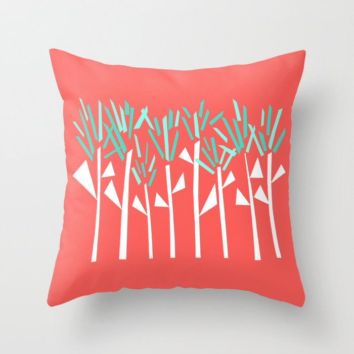Coral and Teal Botanical Collage Print Throw Pillow