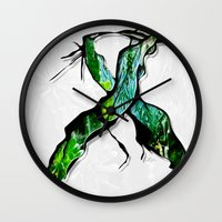 middle earth Wall Clocks featuring Meet in the Middle by Lani Harmony
