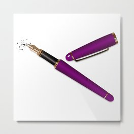 Fountain Pen (Purple) Metal Print