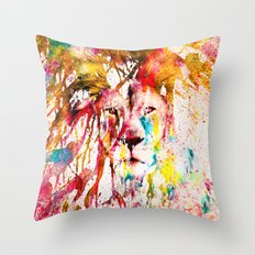 Wild Lion Sketch Abstract Watercolor Splatters Throw Pillow
