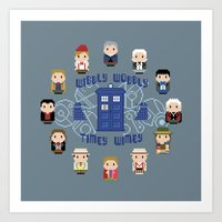 wall clock Art Prints featuring Doctor Who Wall Clock by Cloudsfactory