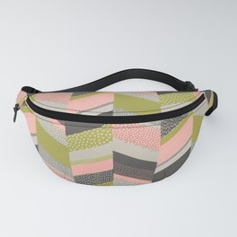 Chevron with Textures / Rose and Green Fanny Pack