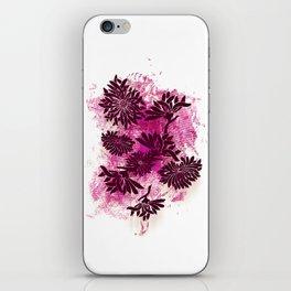 Peonies (black on pink) iPhone Skin