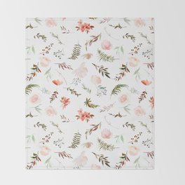 Coral pink green watercolor hand painted floral Throw Blanket