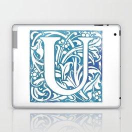 Letter U Elegant Vintage Floral Letterpress Monogram Laptop & iPad Skin