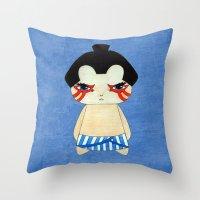 honda Throw Pillows featuring A Boy - E. Honda by Christophe Chiozzi