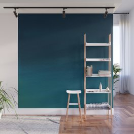 Navy blue teal hand painted watercolor paint ombre Wall Mural