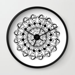 Delicate black mandala on white Wall Clock