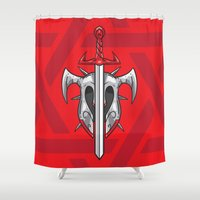 gladiator Shower Curtains featuring Sword and Helmet Illustration by pixaroma