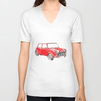 mini cooper V-neck T-shirts featuring Red Mini Cooper by Meg Ashford