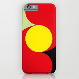 This is a sun splitting the sky in two sides, one black, one green. Spitting deep red round rays. iPhone Case