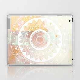 Ukatasana white mandala on pink Laptop & iPad Skin