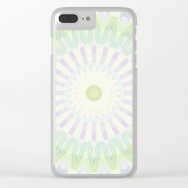 Rhythm of Spring Mandala in Pastel Green, Purple and Yellow Clear iPhone Case