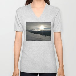 On the mountains, me and the sun, between the clouds Unisex V-Neck