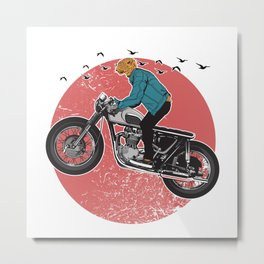 Cheetah Riding a Bike Metal Print