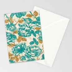 Cyan roses Toile de Jouy Stationery Cards