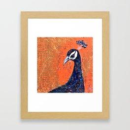 Pop Art Peacock blue-on-orange Framed Art Print