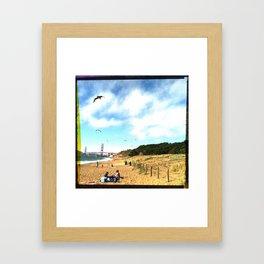 golden gate bridge beach Framed Art Print