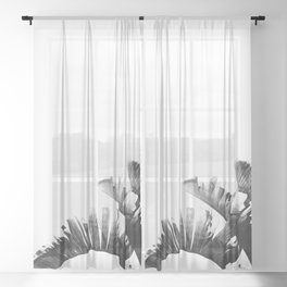 Palm leaves black and white tropical watercolor Sheer Curtain