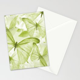 Butterflies And Flowers Green Illustration On White #decor #society6 #buyart Stationery Cards