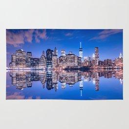 New York skyline at night Rug