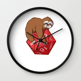 Slow Your Roll Tabletop Gaming Gift Print Sloth D20 Dice Print Wall Clock