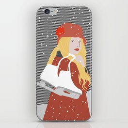 Winter Snow Ice Skater (flat graphics) iPhone Skin