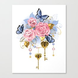 Pink Roses with Keys Canvas Print