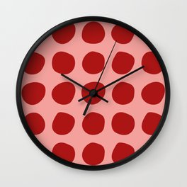 Irregular Polka Dots pink and red Wall Clock