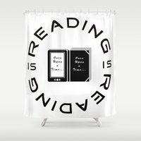reading Shower Curtains featuring Reading is Reading by Marina Bonomi