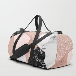 Modern rose gold glitter black white marble geometric color block Duffle Bag