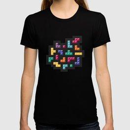Tetris bricks jewel tones on black pattern T-shirt