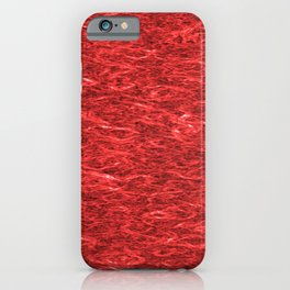 Horizontal metal texture of bright highlights on red waves. iPhone Case