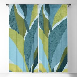 In The Shadows / Abstract Maximal Flora in French Blue and Olive Blackout Curtain