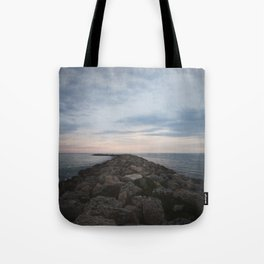 The Jetty at Sunset - Vertical Tote Bag