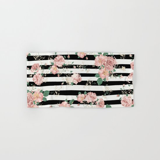 Who Sells Cannon Bath Towels: VINTAGE FLORAL ROSES BLACK AND WHITE STRIPES Hand & Bath