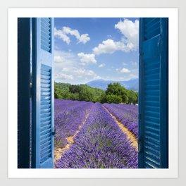 wooden shutters, lavender field Art Print