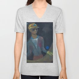 African American Masterpiece 'Rehearsal for Suicide' by Karl Priebe Unisex V-Neck