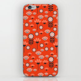 Whimsy wildflowers in red iPhone Skin