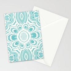 Lace Floral: Aqua Marina Ivory Stationery Cards