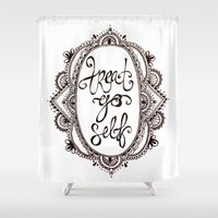 treat yo self Shower Curtains featuring Treat Yo Self by Narts and Crafts