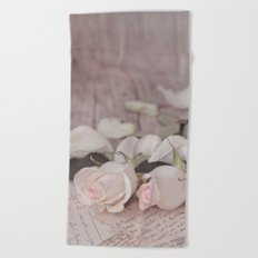 Pink Rose nostalgic Still Life Beach Towel