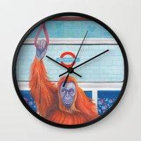 frank Wall Clocks featuring Frank by Sarah Underwood Illustration