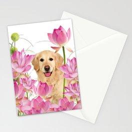 Labrador Retrievers with Lotos Flower Stationery Cards